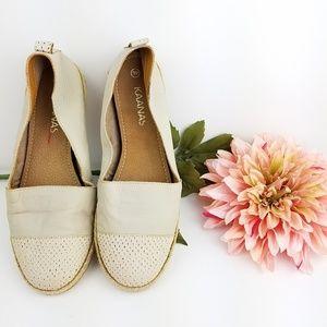 Kaanas Cream Leather Espadrille Flats